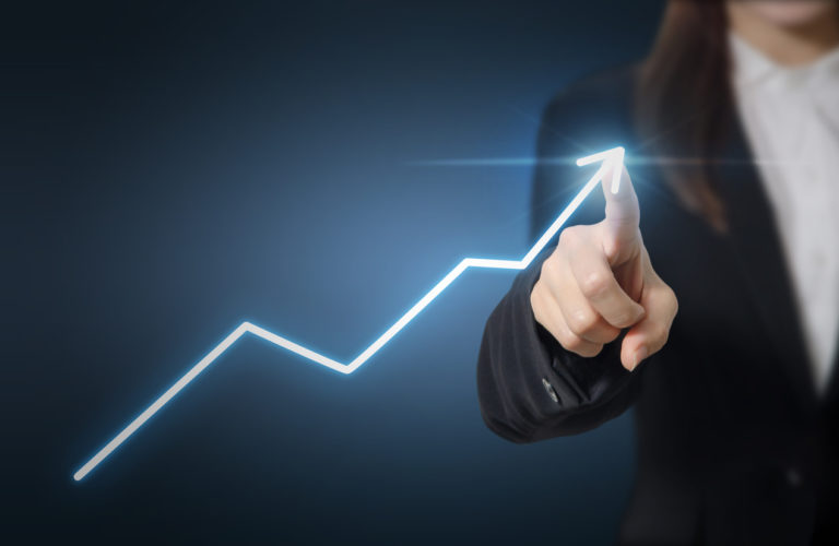 Development and growth concept. Businesswoman plan growth and increase of positive indicators in his business.