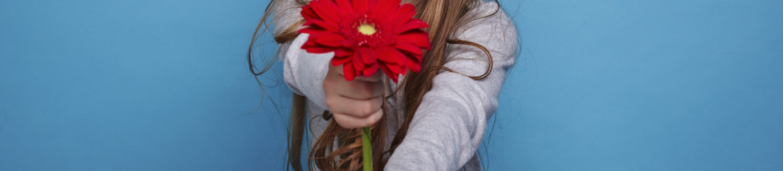 Charming girl giving a gerbera